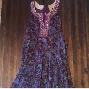Free People Purple Midi Embellished Dress
